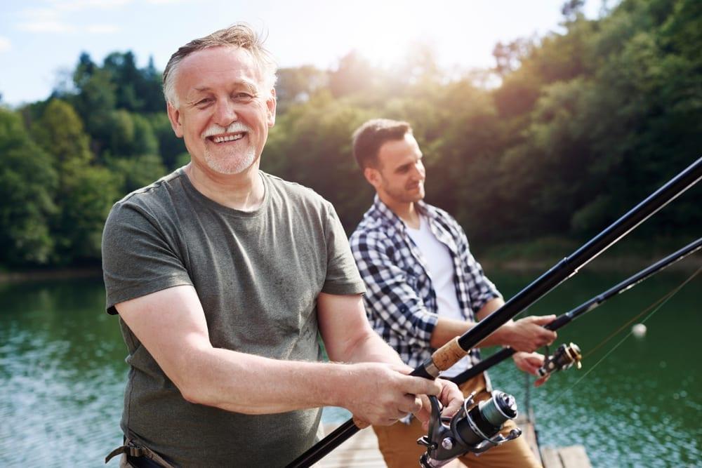 Men river fishing.