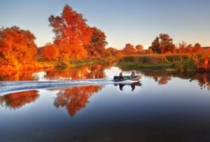 Boat on the lake in autumn.