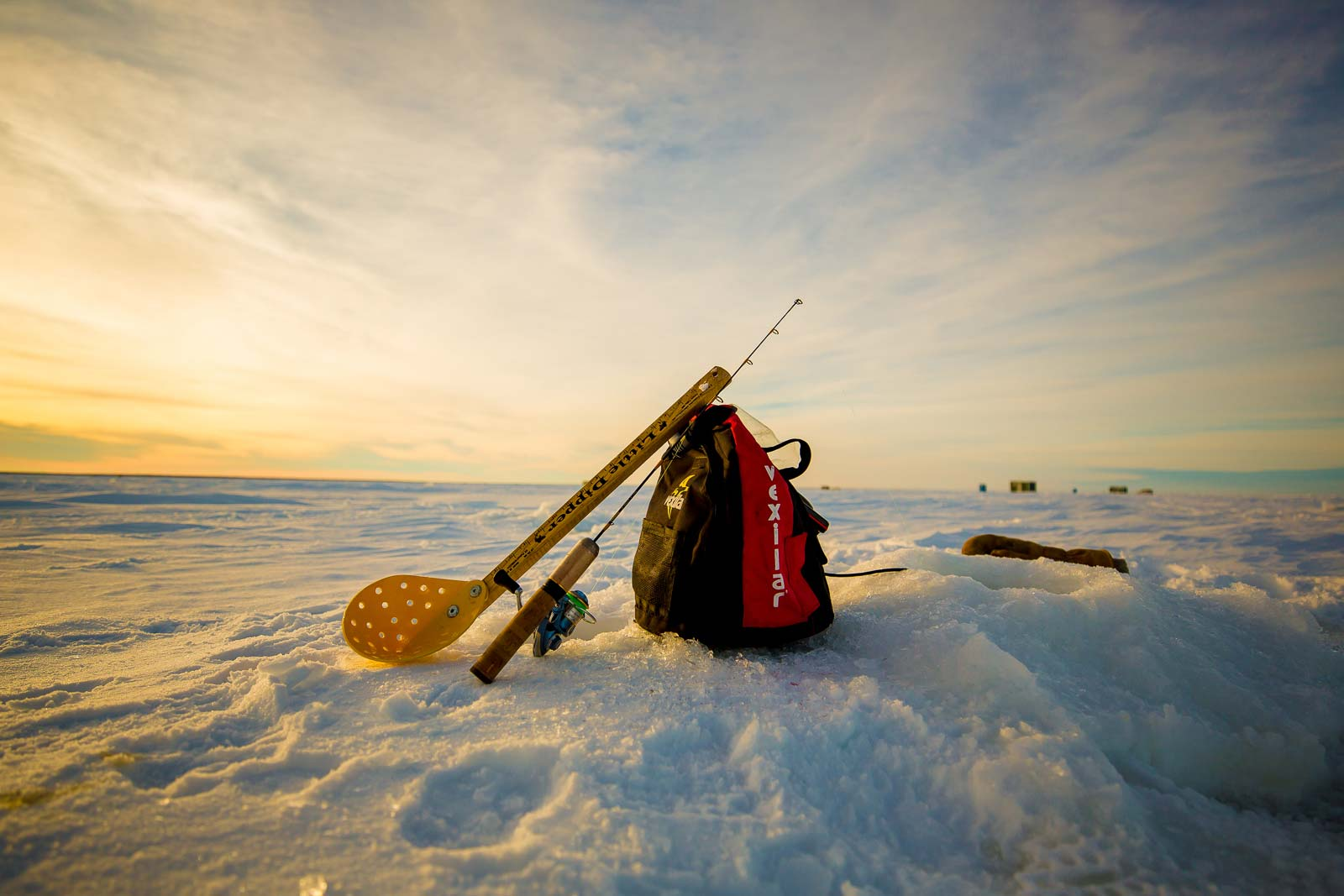 ice fishing gear on Lake of the Woods