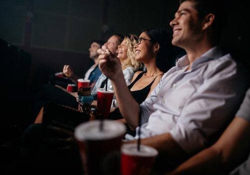 Audience watching a movie.